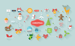 Christmas greeting icons Stock Photography