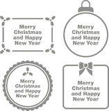 Christmas greeting icons. Set of flat icons illustrated with Christmas greetings in holiday shapes Royalty Free Stock Images