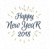 Christmas greeting label consisting sign Happy New Year 2018 with gold sunburst. Isolated on snow holiday background. Vector Illustration Stock Photography