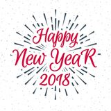 Christmas greeting label consisting sign Happy New Year 2018 red color and black sunburst. Isolated on snow holiday background. Vector Illustration Stock Photos