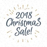 Christmas greeting label consisting sign 2018 christmas sale with gold sunburst. Isolated on snow holiday background. Vector Illustration Stock Photos