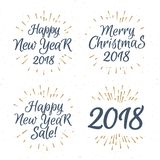 Christmas greeting label label set consisting sign Merry Christm. As 2018 Happy New Year sale with gold sunburst isolated on snow holiday background. Vector Stock Images