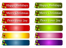 Christmas Greeting Labels or Logos. A clip art illustration featuring a number of colorful holly decorated Christmas logos or labels in red, green, blue, gold Royalty Free Stock Image