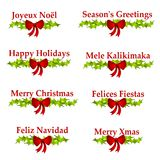 Christmas Greeting Logos or Banners. A clip art illustration of 8 different holiday greetings including - Joyeux Noël, Season's Greetings, Happy Holidays, Mele Stock Image