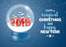 Snow Globe with 2018 digits. Christmas Greeting. Magic snow globe with digits 2018 and flying snowflakes. Realistic vector illustration Royalty Free Stock Photography
