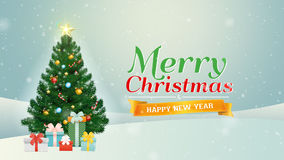Merry Christmas & happy new year Greeting with Christmas tree and present box stock video
