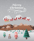 Christmas greeting message with flying santa Royalty Free Stock Photos