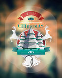 Christmas greeting message with illustrations Stock Image