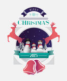 Christmas greeting message with illustrations Stock Images