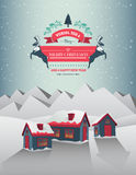 Christmas greeting message over snowy village Royalty Free Stock Images