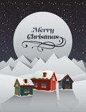 Christmas greeting message over snowy village Royalty Free Stock Photo