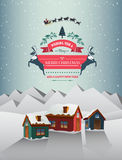 Christmas greeting message over snowy village Royalty Free Stock Image