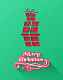 Christmas greeting message with stacked gifts Royalty Free Stock Photos