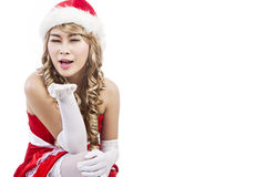 Christmas greeting by Mrs Claus isolated in white Royalty Free Stock Photography
