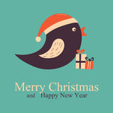 Christmas Greeting and New Year card with bird Stock Photos