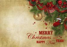 Christmas greeting nice card with wishes and copy space for your text or photo royalty free stock image
