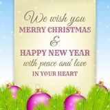 Christmas greeting on old paper with fir in background Stock Photo