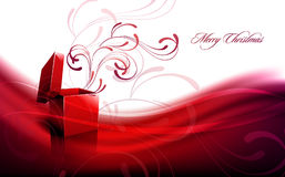 Christmas Greeting with Open Box Stock Images