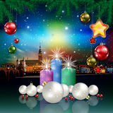 Christmas greeting with panorama of city Royalty Free Stock Images