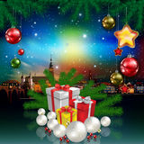 Christmas greeting with panorama of city Royalty Free Stock Photos