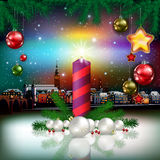 Christmas greeting with panorama of city Stock Images