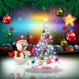Christmas greeting with panorama of city Stock Photo