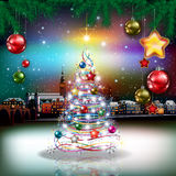 Christmas greeting with panorama of city Stock Photography