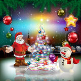 Christmas greeting with panorama of city Royalty Free Stock Photo
