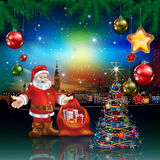 Christmas greeting with panorama of city Royalty Free Stock Image