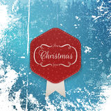 Christmas greeting paper Label and white Ribbon Stock Image
