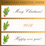 Christmas greeting paper with text. Vector set of three templates Christmas greeting paper with decorative Christmas decorations with text royalty free illustration