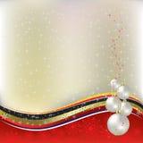 Christmas greeting pearl balls with ribbon Stock Photo
