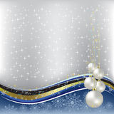 Christmas greeting pearl balls on silver Stock Photos