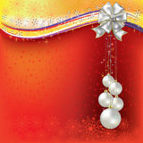 Christmas greeting pearl balls with white bow Stock Image