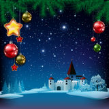 Christmas greeting with pine branch and castle Stock Images
