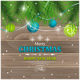 Christmas greeting. Pine-needles, baubles and ribbons. Royalty Free Stock Images