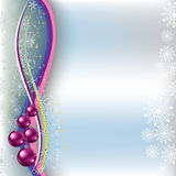 Christmas greeting pink balls on blue Royalty Free Stock Photography
