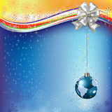 Christmas greeting planet earth with white bow Royalty Free Stock Photography