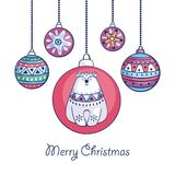 Christmas greeting with polar bear. Christmas greeting card with cute polar bear and balls in ethnic style. Vector illustration isolated on a white background vector illustration