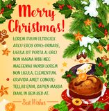 Christmas holiday poster with New Year dessert Stock Images