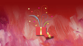 Christmas greeting with present Royalty Free Stock Image