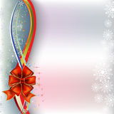 Christmas greeting red bow with ribbons Royalty Free Stock Image