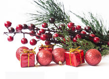 Christmas Greeting with Red Gifts and Balls Royalty Free Stock Photos