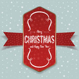Christmas greeting red Label and white Ribbon. Realistic Christmas greeting red Label and white Ribbon on light Background with Snowflakes. Vector Illustration Royalty Free Stock Images