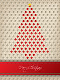 Christmas greeting with red stripe and christmas tree Royalty Free Stock Photo
