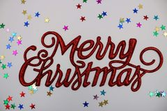 Christmas greeting in red royalty free stock photography
