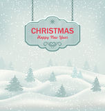 Christmas Greeting Retro Banner with Winter Stock Photo