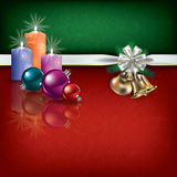 Christmas greeting with ribbon and candles Royalty Free Stock Photography