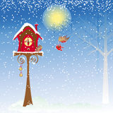 Christmas greeting robin bird background Stock Photography