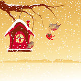 Christmas greeting robin bird wallpaper Stock Photography